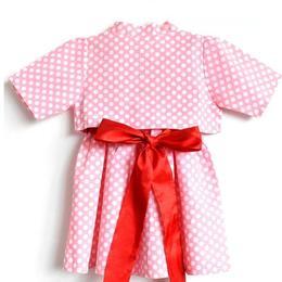 Rochita plus bolero cu maneca scurta, bumbac 100%, cordon in talie, rosu, roz si buline albe, 3-4 ani