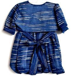 Rochita eleganta cu bolero, maneca scurta, exterior voal, dublata la interior cu bumbac 100%, cordon in talie, albastru cu dungi argintii, 6-12 luni
