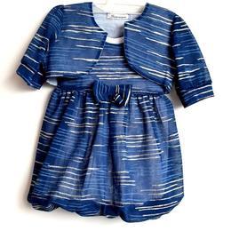 Rochita eleganta cu bolero, maneca scurta, exterior voal, dublata la interior cu bumbac 100%, cordon in talie, albastru cu dungi argintii, 2-3 ani