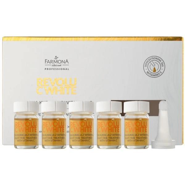 Tratament de Noapte cu Vitamina C pentru Reducerea Petelor - Farmona Revolu C-White Night Time Treatment with Vitamin C, 5 x 5ml