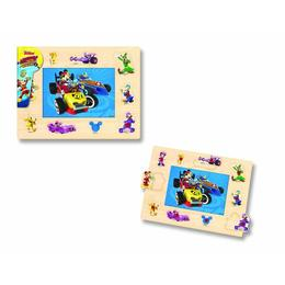 Puzzle cu tinte, 16 piese - Mickey si pilotii de curse