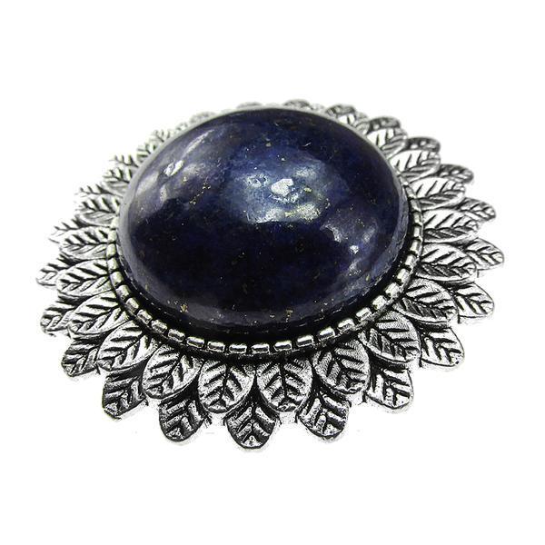 Brosa argintiu antic cu lapis lazuli natural