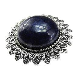 Brosa argintiu antic cu lapis lazuli natural, GlamBazaar