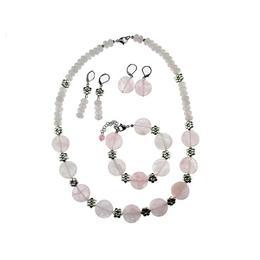 Set pietre naturale cuart roz cu flori, GlamBazaar