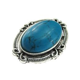 Brosa ovala argintiu antic cu haolit albastru natural, GlamBazaar