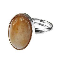 Inel argint reglabil cu jad miere natural 14x10 MM, GlamBazaar