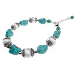 Bratara perle naturale si turcoaz nugget, GlamBazaar