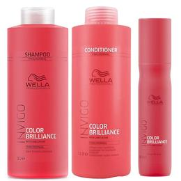 Pachet pentru Par Vopsit Fin sau Normal Wella Professionals Invigo Color Brilliance - Sampon, Balsam, Spray