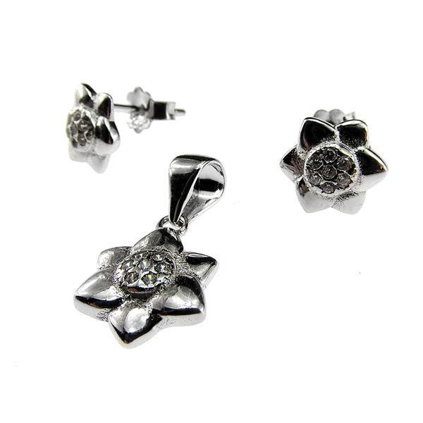 Set argint floricele cu zirconii