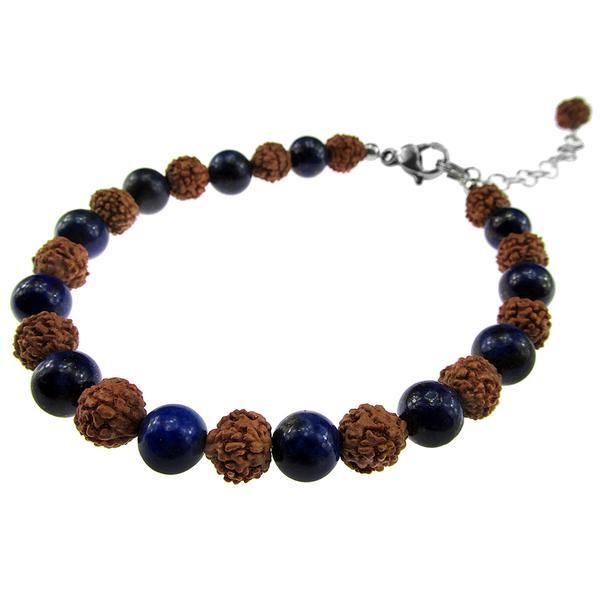 Bratara Rudraksha cu lapis lazuli natural