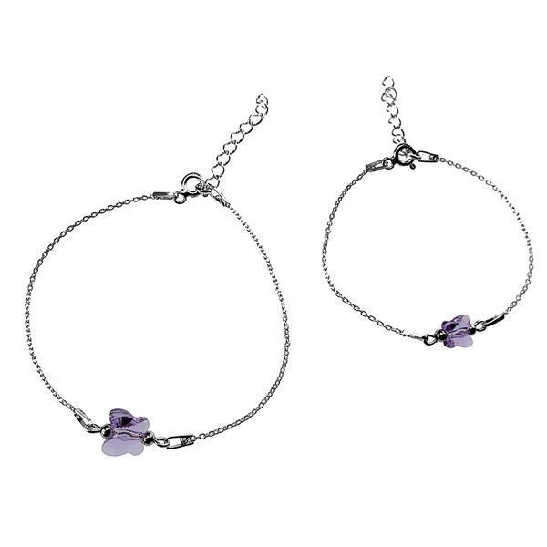 Set 2 bratari mama-fiica argint cu fluturi violet Swarovski Elements