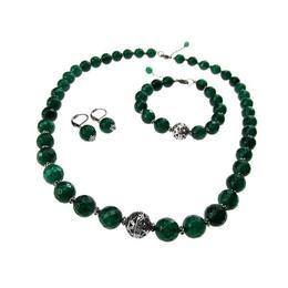Set pietre naturale agat verde-smarald fatetat, GlamBazaar