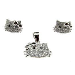 Set argint Hello Kitty cu zirconia, GlamBazaar