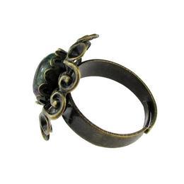 Inel reglabil bronz antic dantela cu rubin zoisit, GlamBazaar