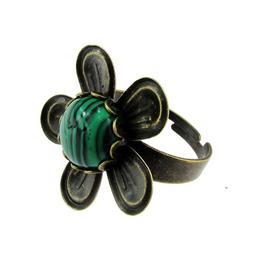 Inel reglabil bronz antic floare cu malachit, GlamBazaar