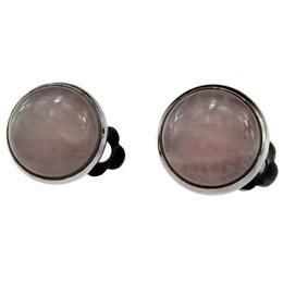 Cercei clips cu piatra naturala cuart roz 12 MM, GlamBazaar
