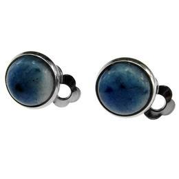 Cercei clips cu piatra naturala sodalit albastru 10 MM, GlamBazaar