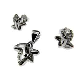 Set argint rodiat model frunzulite, GlamBazaar