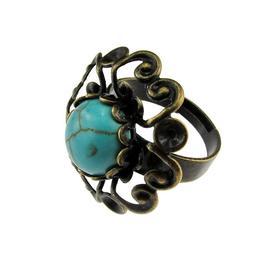 Inel reglabil bronz antic dantela cu turcoaz, GlamBazaar