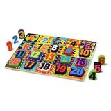 Puzzle lemn in relief, Numere - Chunky Puzzle, Numbers