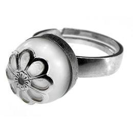Inel argint reglabil cu perla de cultura alba cu floare, GlamBazaar