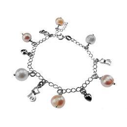 Bratara argint cu charmuri si perle de cultura, GlamBazaar