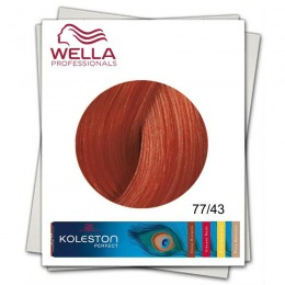 Vopsea Permanenta - Wella Professionals Koleston Perfect nuanta 77/43 blond mediu intens rosu auriu