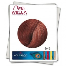 Vopsea Permanenta - Wella Professionals Koleston Perfect nuanta 8/43 blond deschis rosu auriu