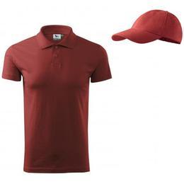 Tricou Adler - polo rosu bordo din bumbac 100%, marime S + sapca