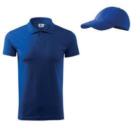 Tricou Adler - polo albastru regal din bumbac 100%, marime S + sapca