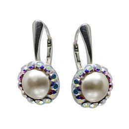 Cercei Argint, Perle si Cristale Swarovski, BijouxMAG, Elena, 2.8 cm, Argint 925, Crystal