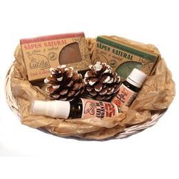 Cos cadou Lucille cu sapun salvie 90g, sapun citrice 90g, ulei esential 10ml, ulei argan 30ml - Cosmetice 100% naturale