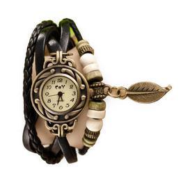 Ceas de dama Retro Vintage, curea din piele, accesoriu frunza, culoare Negru