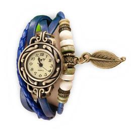 Ceas de dama Retro Vintage, curea din piele, accesoriu frunza, culoare Blue