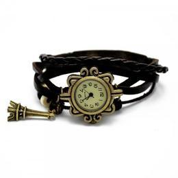 Ceas de dama Retro Vintage, curea din piele, accesoriu Turn Eiffel, culoare negru