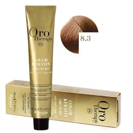 Vopsea Permanenta fara Amoniac Fanola Oro Therapy Color Keratin 8.3 Blond Deschis Auriu, 100ml