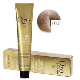 Vopsea Permanenta fara Amoniac Fanola Oro Therapy Color Keratin 10.3 Blond Platinat Auriu, 100ml