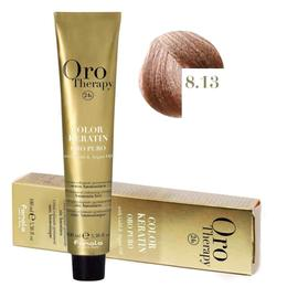 Vopsea Permanenta fara Amoniac Fanola Oro Therapy Color Keratin 8.13 Blond Deschis Bej, 100ml