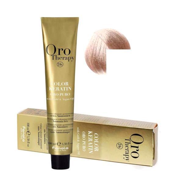 Vopsea Permanenta fara Amoniac Fanola Oro Therapy Color Keratin 9.13 Blond Foarte Deschis Bej, 100ml esteto.ro