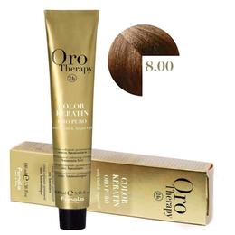 Vopsea Permanenta fara Amoniac Fanola Oro Therapy Color Keratin 8.00 Blond Deschis Intens, 100ml