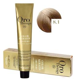 Vopsea Permanenta fara Amoniac Fanola Oro Therapy Color Keratin 8.1 Blond Deschis Cenusiu, 100ml