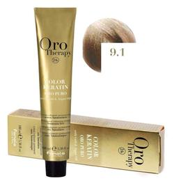 Vopsea Permanenta fara Amoniac Fanola Oro Therapy Color Keratin 9.1 Blond Foarte Deschis Cenusiu, 100ml
