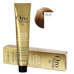 Vopsea Permanenta fara Amoniac Fanola Oro Therapy Color Keratin 8.0 Blond Deschis, 100ml