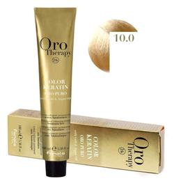 Vopsea Permanenta fara Amoniac Fanola Oro Therapy Color Keratin 10.0 Blond Platinat, 100ml