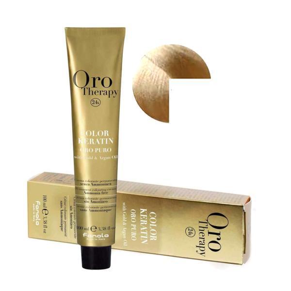 Vopsea Permanenta fara Amoniac Fanola Oro Therapy Color Keratin 10.00 Blond Platinat Intens, 100ml imagine produs