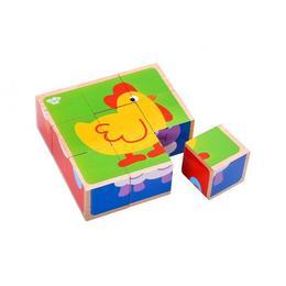 Puzzle cuburi lemn animale,Tooky Toy