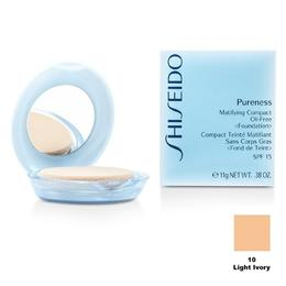 Fond de Ten Compact Matifiant - Shiseido Pureness Matifiying Compact Oil-Free Foundation - 10 Light Ivory, 11g