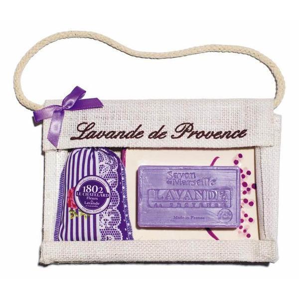 Set Cadou Poseta Iuta Sapun Marsilia 100g Lavanda Savoniera Ceramica si Saculet Flori Lavanda Provence 18g Le Chatelard 1802 esteto.ro