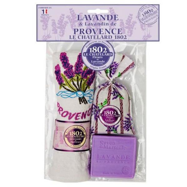 Set Cadou Sapun Natural Marsilia 100g Lavanda Saculet Flori Lavanda Naturala de Provence 18g Prosop Brodat Le Chatelard 1802 esteto.ro