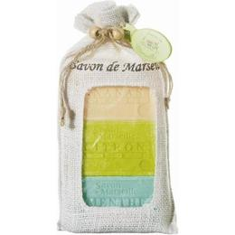 Set Cadou Iuta 3x Sapun Natural Marsilia Ananas Mango Citron Vert Lime Menta Melisse Le Chatelard 1802